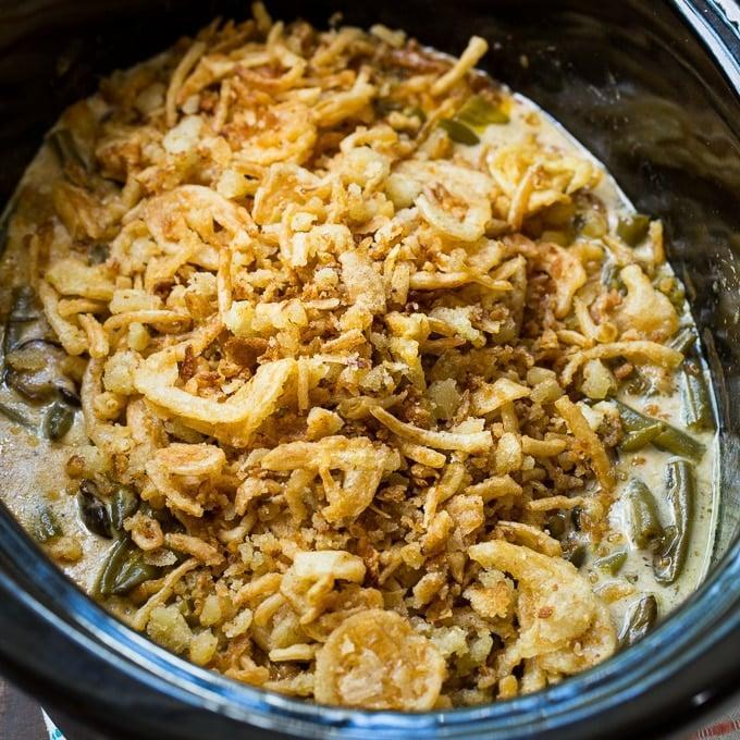"""<p>If you thought you loved your slow cooker before, wait until you see how useful it is during the holidays.</p> <p><b>Get the recipe:</b> <a href=""""https://spicysouthernkitchen.com/slow-cooker-green-bean-casserole/"""" class=""""link rapid-noclick-resp"""" rel=""""nofollow noopener"""" target=""""_blank"""" data-ylk=""""slk:slow-cooker green bean casserole"""">slow-cooker green bean casserole</a></p>"""