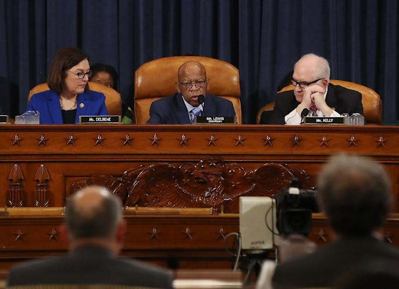 Democratic Congressman John Lewis of Georgia chairs a hearing in February 2019 on legislitive proposals to require presidential candidates to disclose their income tax returns (AFP Photo/MARK WILSON)