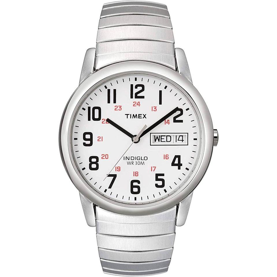 """<p><strong>Timex</strong></p><p>amazon.com</p><p><strong>$37.28</strong></p><p><a href=""""https://www.amazon.com/dp/B000B5459Q?tag=syn-yahoo-20&ascsubtag=%5Bartid%7C10054.g.35351418%5Bsrc%7Cyahoo-us"""" rel=""""nofollow noopener"""" target=""""_blank"""" data-ylk=""""slk:Shop Now"""" class=""""link rapid-noclick-resp"""">Shop Now</a></p><p>If you want to lean into the retro look and size (35mm, for the record), a steel expansion band is a good way to do it.</p>"""