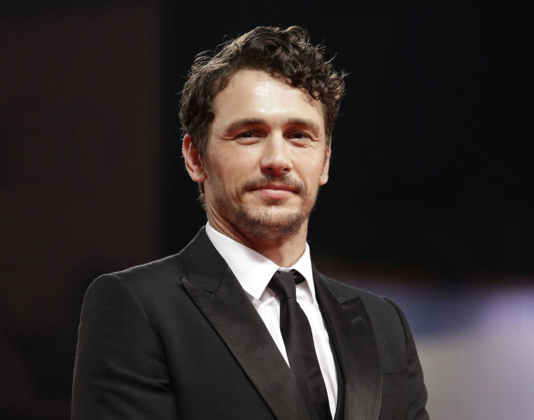 "FILE - This Sept. 5, 2012 file photo shows actor James Franco at the premiere of the film ""Spring Breakers"" at the 69th edition of the Venice Film Festival in Venice, Italy. Franco has directed a short film anchoring a social media campaign for shoe designer Stuart Weitzman. Four vignettes, which will debut on the brand's Facebook page, follow model Petra Nemcova as she takes what the company describes as ""a midnight fantasy stroll."" The inspiration came from the 1988 underground club-scene movie ""Mondo New York,"" and Nemcova struts to an updated version of the Patsy Cline song, ""Walking After Midnight.""(AP Photo/Andrew Medichini, file)"