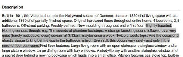 The seller's description of just what the haunting situation is at the house. Photo: Zillow