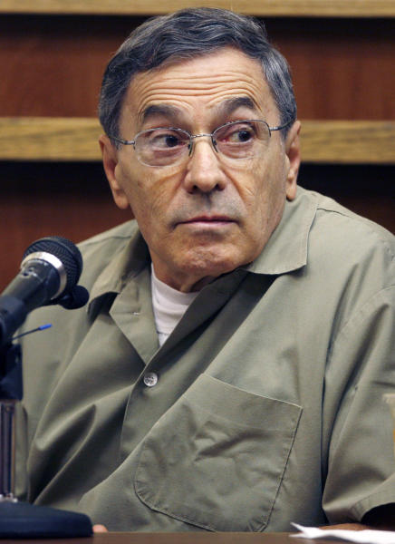 """FILE - In this Sept. 22, 2008, file photo, Stephen """"The Rifleman"""" Flemmi, a jailed Boston mob leader, testifies in a Miami court room in the murder trial of former FBI agent John Connolly. Flemmi is on the witness list to testify at the trial of James """"Whitey"""" Bulger, which begins with jury selection on Tuesday, June 4, 2013 in federal court in Boston. (AP Photo/J. Pat Carter, File)"""