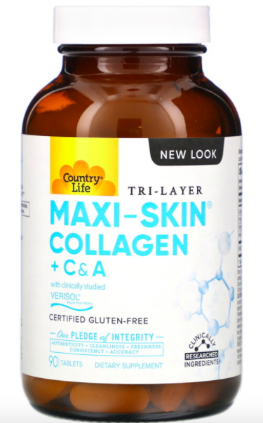 Country Life, Tri Layer Maxi-Skin Collagen + C & A, 90 Tablets, ₱875.02. PHOTO: iHerb