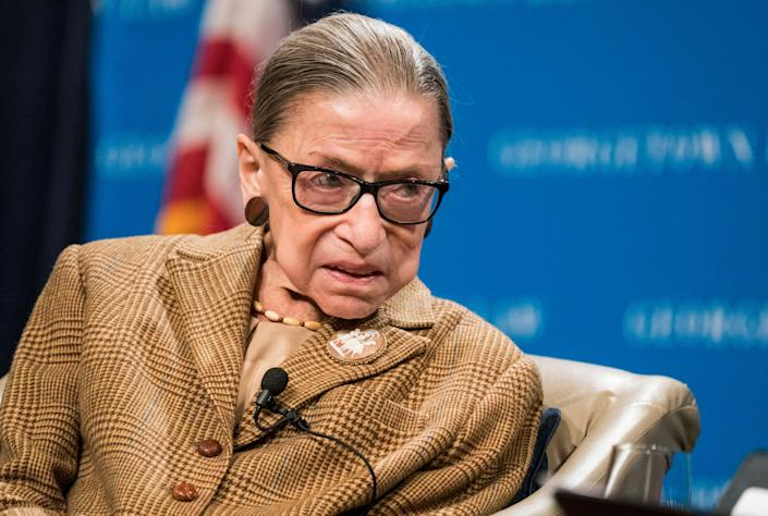 Supreme Court Justice Ruth Bader Ginsburg participates in a discussion at the Georgetown University Law Center on Feb. 10 in Washington, D.C. In a final statement she dictated to her granddaughter, she asked to not be replaced before the election. (Photo: Sarah Silbiger via Getty Images)