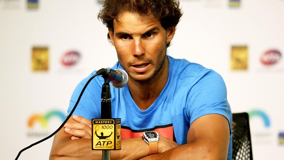 Rafael Nadal, pictured here speaking to the media at the Miami Open in 2016.