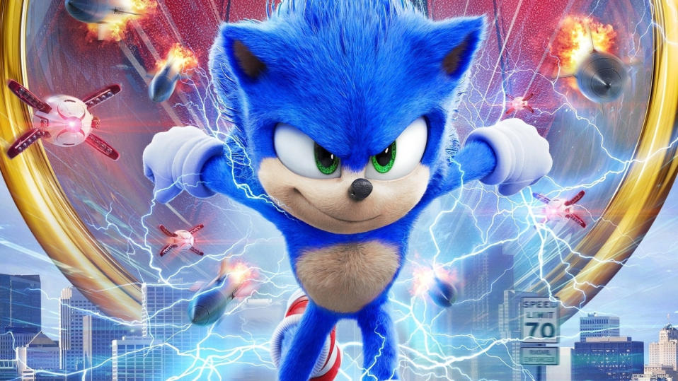 And so, to the big Valentine's Day blockbuster of 2020 – an animated video game hedgehog scuffling with Jim Carrey in full, gurning 1990s mode. What a wonderful world. (Credit: Paramount)