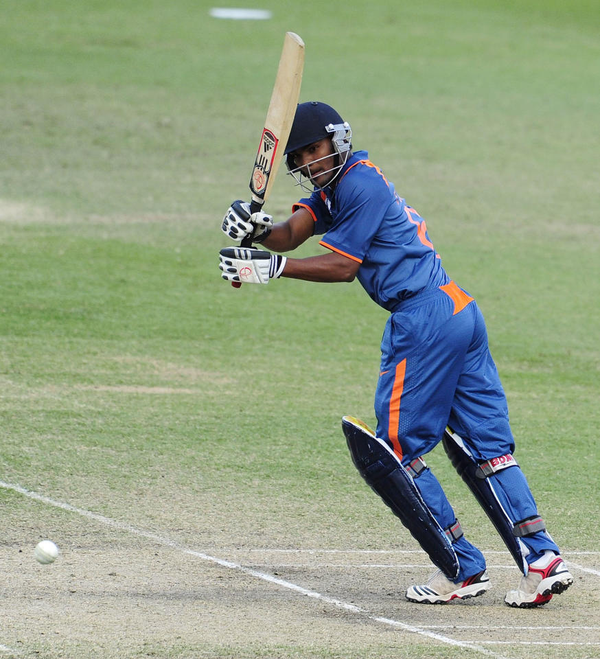 TOWNSVILLE, AUSTRALIA - AUGUST 20:  Sandeep Sharma of India bats during the ICC U19 Cricket World Cup 2012 Quarter Final match between India and Pakistan at Tony Ireland Stadium on August 20, 2012 in Townsville, Australia.  (Photo by Ian Hitchcock-ICC/Getty Images)