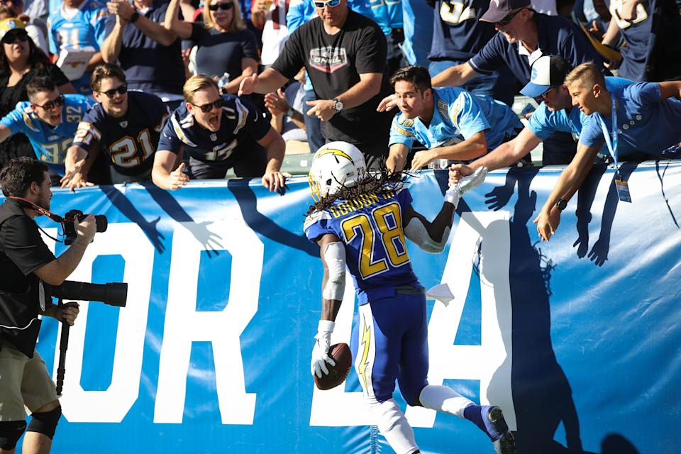 These fans seem to recognize Chargers running back Melvin Gordon. (Getty Images)