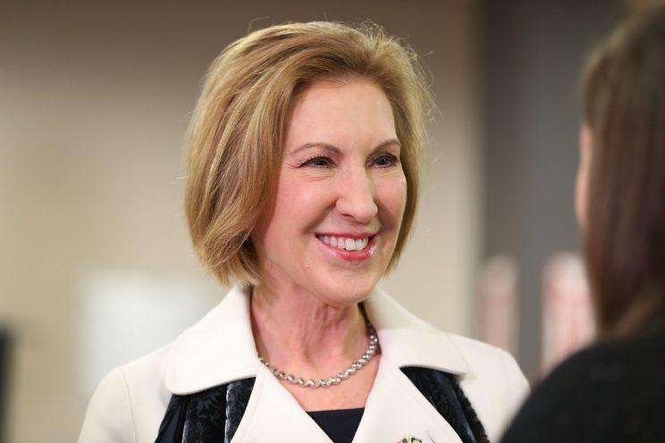 Republican presidential candidate Carly Fiorina greets people during a Timberland Town Hall at the Timberland Global Headquarters on February 3, 2016. (Photo: Getty Images)