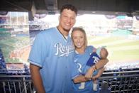 """<p>The family of three wore Kansas City Royals jerseys — Sterling's has 'Mahomes' on the back! — to a <a href=""""https://www.instagram.com/p/CNJAxVFJWIC/"""" rel=""""nofollow noopener"""" target=""""_blank"""" data-ylk=""""slk:baseball game"""" class=""""link rapid-noclick-resp"""">baseball game</a> in April 2021. Her dad is part-owner of the team, so you could say that she has the hook-up! </p>"""