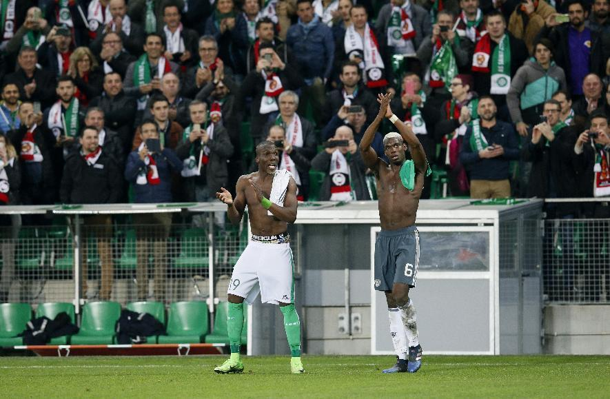 Soccer Football - Saint-Etienne v Manchester United - UEFA Europa League Round of 32 Second Leg - Stade Geoffroy-Guichard, Saint-Etienne, France - 22/2/17 Manchester United's Paul Pogba and St Etienne's Florentin Pogba after the match  Reuters / Robert Pratta Livepic