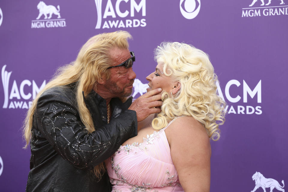 ***FILE PHOTO*** Beth Chapman, wife of Dog The Bounty Hunter, loses battle against throat cancer at the age of 51. . LAS VEGAS, NV - April 7: Duane and Beth Chapman pictured at 48th Annual Academy of Country Music Awards ACM Awards at MGM Grand on April 7, 2013 in Las Vegas, Nevada. © Kabik/ Starlitepics/MediaPunch Inc. /IPX