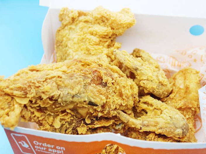 popeyes box with fried chicken