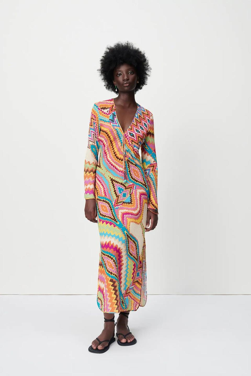 <p>This <span>Zara Long Printed Dress</span> ($70) pairs well with spontaneous weekends in the country or planned beach getaways. The eye-catching print infuses it with cheerful energy, while the silhouette exudes understated elegance.</p>