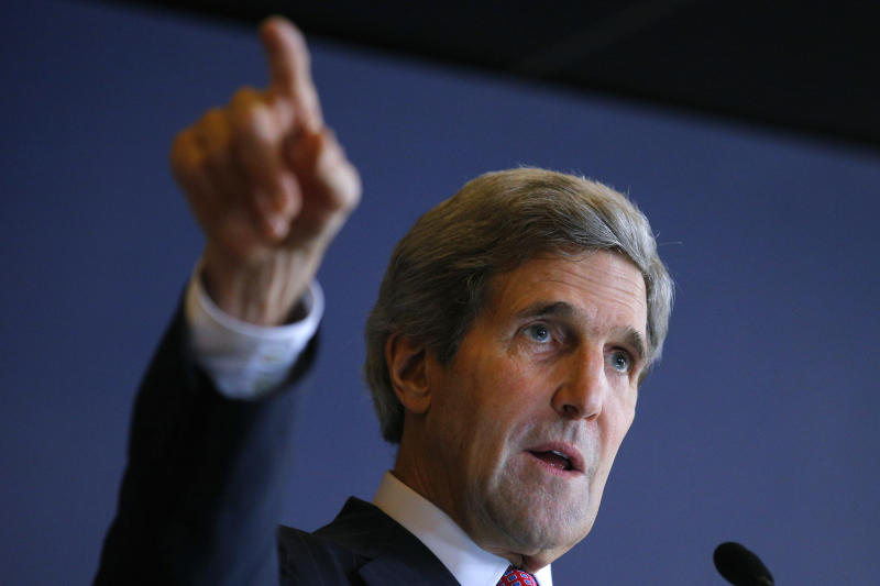 U.S. Secretary of State John Kerry speaks to the American Chamber of Commerce in Manila, Philippines Tuesday, Dec. 17, 2013. Kerry is in the Philippines to show American backing for its longtime ally and inspect typhoon recovery efforts. (AP Photo/Brian Snyder, Pool)