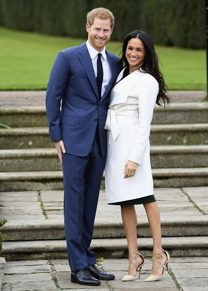 """<p>No one could deny the excitement between Prince Harry and Meghan Markle when they announced their engagement at Kensington Palace in 2017. You also can't deny that Meghan <a href=""""https://www.allure.com/story/meghan-markle-pantyhose-bare-legged-royal-protocol"""" rel=""""nofollow noopener"""" target=""""_blank"""" data-ylk=""""slk:skipped the pantyhose protocol"""" class=""""link rapid-noclick-resp"""">skipped the pantyhose protocol</a> enforced by the palace. </p>"""
