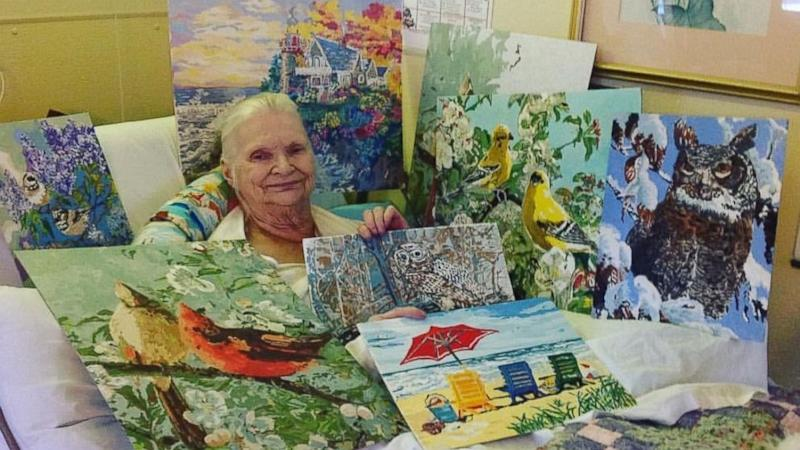 Grandma on bed rest delights social media with her stunning paintings (ABC News)
