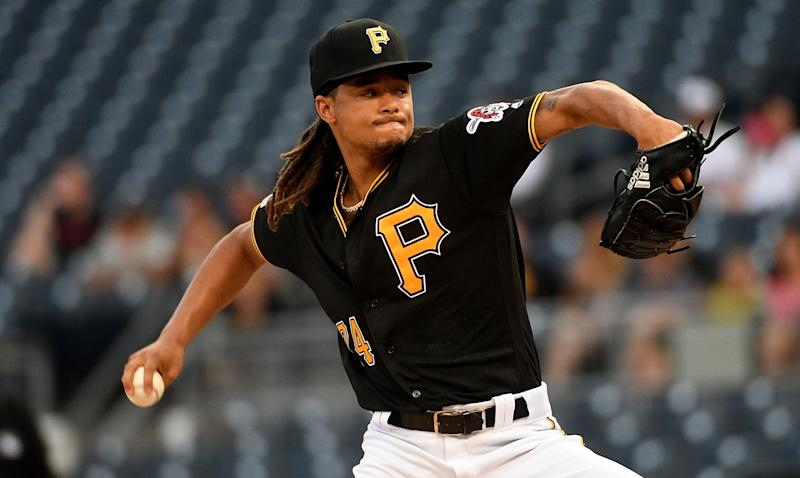 Chris Archer #24 of the Pittsburgh Pirates delivers a pitch in the first inning on Aug. 20, 2019. (Justin Berl/Getty Images)