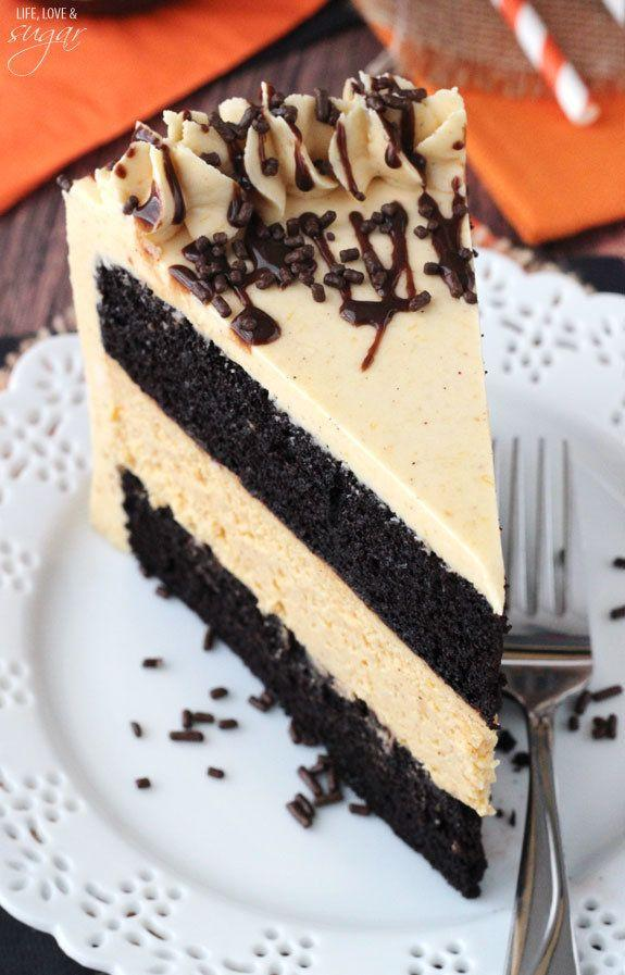 "<strong>Get the <a href=""http://www.lifeloveandsugar.com/2014/09/24/chocolate-pumpkin-cheesecake-cake/"" target=""_blank"">Chocolate Pumpkin Cheesecake Cake recipe</a> from Life, Love & Sugar</strong>"