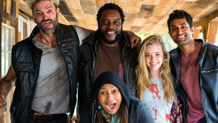 Make A Film Foundation founder Tamika Lamison, center, with actors Keith Allan, Chad Coleman, Jade Pettyjohn, and Pritesh Shah on set of
