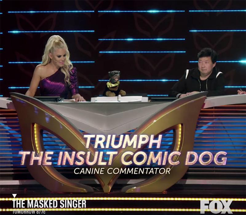 Jenny McCarthy and Ken Jeong with Triumph the Insult Comic Dog. | Fox