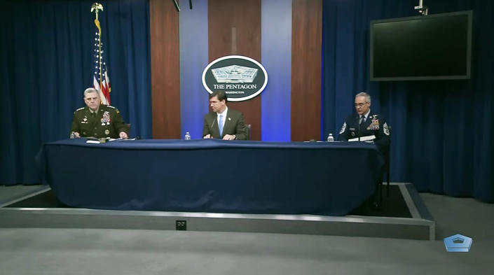 "Defense Secretary Dr. Mark T. Esper; Army Gen. Mark A. Milley, chairman of the Joint Chiefs of Staff; and Senior Enlisted Advisor to the Chairman of the Joint Chiefs of Staff Ramón ""CZ"" Colón-López hold a virtual town hall meeting at the Pentagon. They will answer questions about COVID-19 from service members, Defense Department civilians and family members around the globe, May 28, 2020."