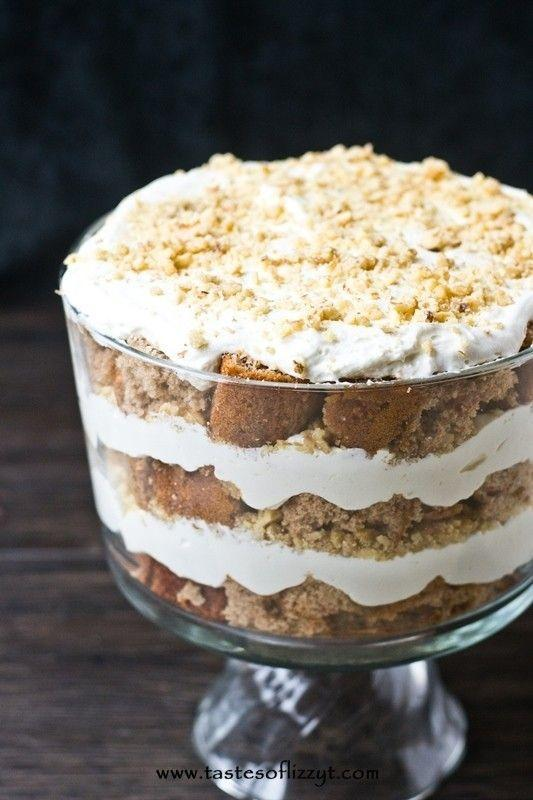 """<p>Cake mix, chopped walnuts, and whipped cream are all you need to transform a classic carrot cake into a trifle of creamy, fluffy sweetness. </p><p><strong>Get the recipe at <a href=""""http://www.tastesoflizzyt.com/2014/03/28/cream-cheese-carrot-cake-trifle/"""" rel=""""nofollow noopener"""" target=""""_blank"""" data-ylk=""""slk:Tastes of Lizzy T's"""" class=""""link rapid-noclick-resp"""">Tastes of Lizzy T's</a>.</strong> </p><p><strong><strong><a class=""""link rapid-noclick-resp"""" href=""""https://www.amazon.com/Anchor-Hocking-Monaco-Trifle-Bowl/dp/B0002YSLXC?tag=syn-yahoo-20&ascsubtag=%5Bartid%7C10050.g.2721%5Bsrc%7Cyahoo-us"""" rel=""""nofollow noopener"""" target=""""_blank"""" data-ylk=""""slk:SHOP TRIFLE BOWLS"""">SHOP TRIFLE BOWLS</a></strong></strong></p>"""