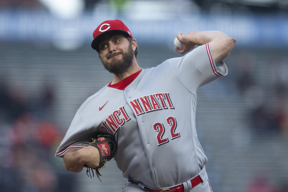 Cincinnati Reds starting pitcher Wade Miley delivers a pitch against the San Francisco Giants during the first inning of a baseball game, Monday, April 12, 2021, in San Francisco, Calif. (AP Photo/D. Ross Cameron)