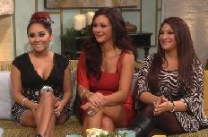'Jersey Shore' stars Nicole 'Snooki' Polizzi, Jenni 'JWoww' Farley and Deena Cortese stop by Access Hollywood Live on January 9, 2012 -- Access Hollywood