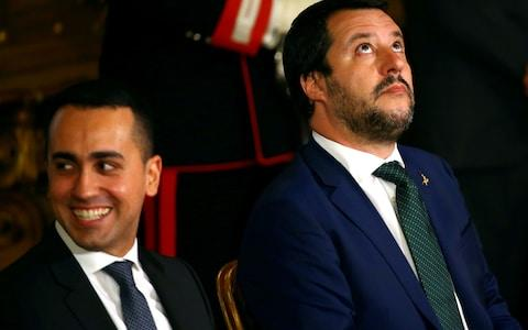 Italy's deputy prime ministers Luigi Di Maio (L) and Matteo Salvini (R) have been baiting French president Emmanuel Macron for months - Credit:  Tony Gentile/ REUTERS