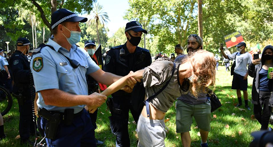 Four people were arrested at Sydney's Invasion Day rally. Source: AAP