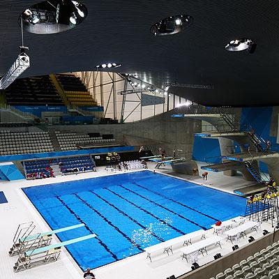A general view of the Aquatics Centre as the Great Britain diving team practice at the Aquatic Centre during previews ahead of the London 2012 Olympic Games.
