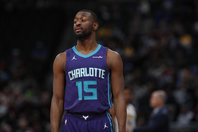 "<a class=""link rapid-noclick-resp"" href=""/nba/teams/cha/"" data-ylk=""slk:Charlotte Hornets"">Charlotte Hornets</a> guard <a class=""link rapid-noclick-resp"" href=""/nba/players/4890/"" data-ylk=""slk:Kemba Walker"">Kemba Walker</a> (15) in the second half of an NBA basketball game Monday, Feb. 5, 2018, in Denver. The Nuggets won 121-104. (AP Photo/David Zalubowski)"