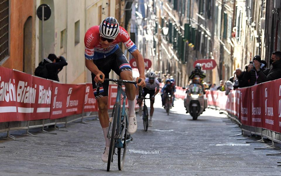 Mathieu van der Poel —Mathieu van der Poel powers away to win Strade Bianche ahead of Julian Alaphilippe and Egan Bernal - GETTY IMAGES