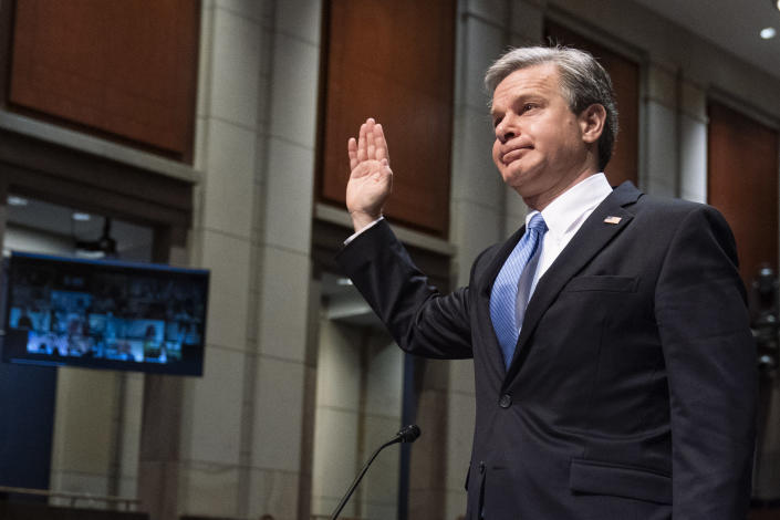 Federal Bureau of Investigation (FBI) Director Christopher Wray is sworn in during the House Judiciary Committee oversight hearing on the Federal Bureau of Investigation on Capitol Hill, Thursday, June 10, 2021, in Washington. (AP Photo/Manuel Balce Ceneta)