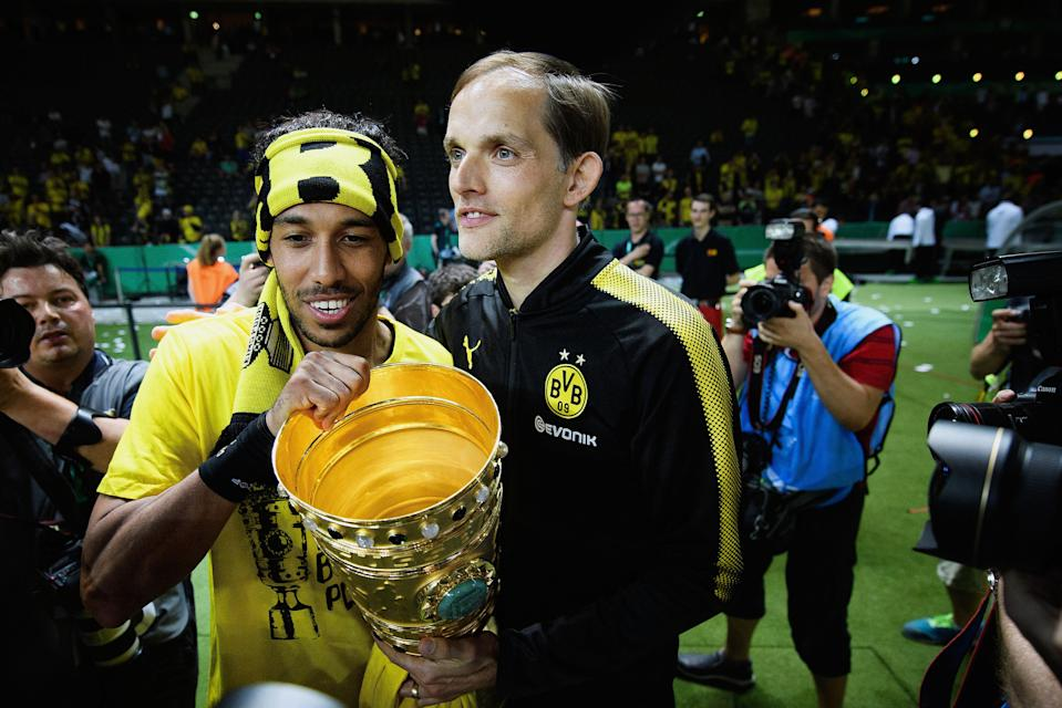 <p>Aubameyang and Tuchel celebrate Dortmund's DFB Cup Final win in 2017</p> (Bongarts/Getty Images)