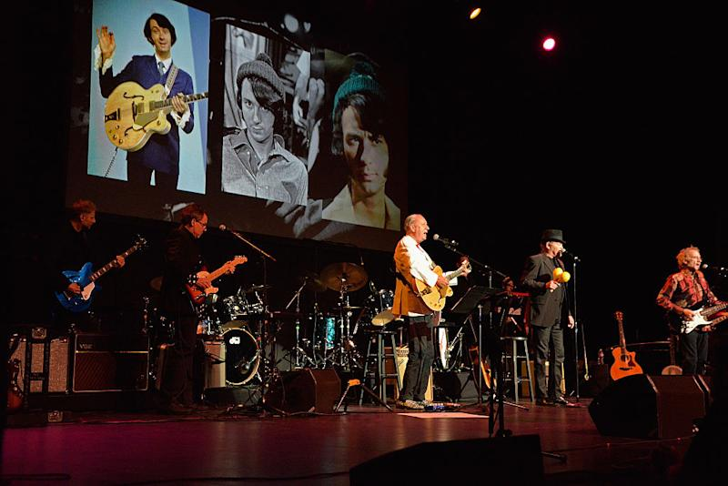 HOLLYWOOD, CA - SEPTEMBER 16: (L - R) Musicians Michael Nesmith, Micky Dolenz and Peter Tork of The Monkees perform at the Pantages Theatre on September 16, 2016 in Hollywood, California. (Photo by Michael Tullberg/Getty Images)