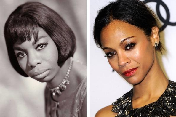(FILE PHOTO) In this composite image a comparison has been made between Nina Simone (L) and actress Zoe Saldana.  Zoe Saldana will reportedly play Nina Simone in a film biopic by writer and director Cynthia Mort and executive producer Jimmy Lovine.  ***LEFT IMAGE*** UNSPECIFIED: Photo of Nina Simone; posed, studio. (Photo by Gilles Petard/Redferns)  ***RIGHT IMAGE*** WEST HOLLYWOOD, CA - JANUARY 08:  Actress Zoe Saldana arrives at Audi Celebrates The 2012 Golden Globe Awards at Ceconni's on January 8, 2012 in West Hollywood, California.  (Photo by Frazer Harrison/Getty Images)
