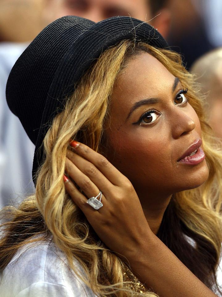 <p>Jay Z gave Beyonce a stunning £3.8 million, 18-carat emerald-cut ring.<br /><i>[Photo: Getty]</i> </p>