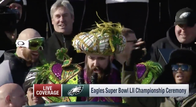Jason Kelce provided the greatest championship parade speech of all time. (Twitter.com/NFL screen shot)