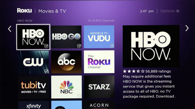 Roku's interface is simple to navigate.