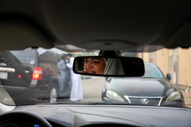 Dr Samira al-Ghamdi, 47, a practicing psychologist, drives around the side roads of a neighborhood as she prepares to hit the road on Sunday as a licensed driver, in Jeddah, Saudi Arabia June 21, 2018. Picture taken June 21, 2018. REUTERS/Zohra Bensemra TPX IMAGES OF THE DAY