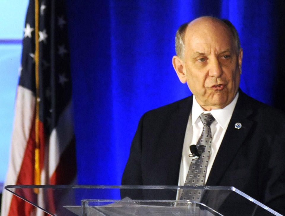 FILE - In this Monday, Sept. 9, 2019 file photo, National Weather Service Director Louis Uccellini addresses a meeting of the National Weather Association in Huntsville, Ala. Uccellini defended forecasters who contradicted President Donald Trump's claim that Hurricane Dorian posed a threat to Alabama as it approached the United States. (AP Photo/Jay Reeves)