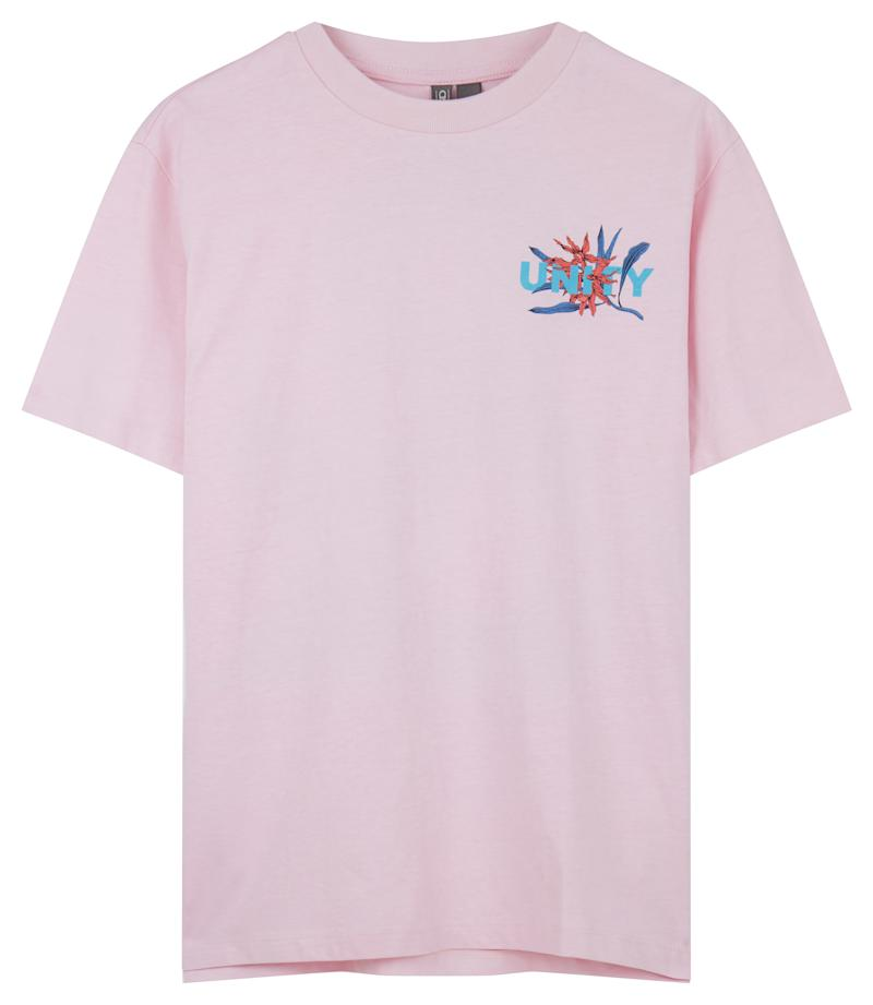 "ASOS x GLAAD <a href=""http://us.asos.com/asos/asos-x-glaad-relaxed-t-shirt-with-tropical-print/prd/8844819?clr=pink&cid=27384&pgesize=12&pge=0&totalstyles=12&gridsize=3&gridrow=2&gridcolumn=2"" target=""_blank"">relaxed t-shirt with tropical print</a>, $29 (ASOS)"