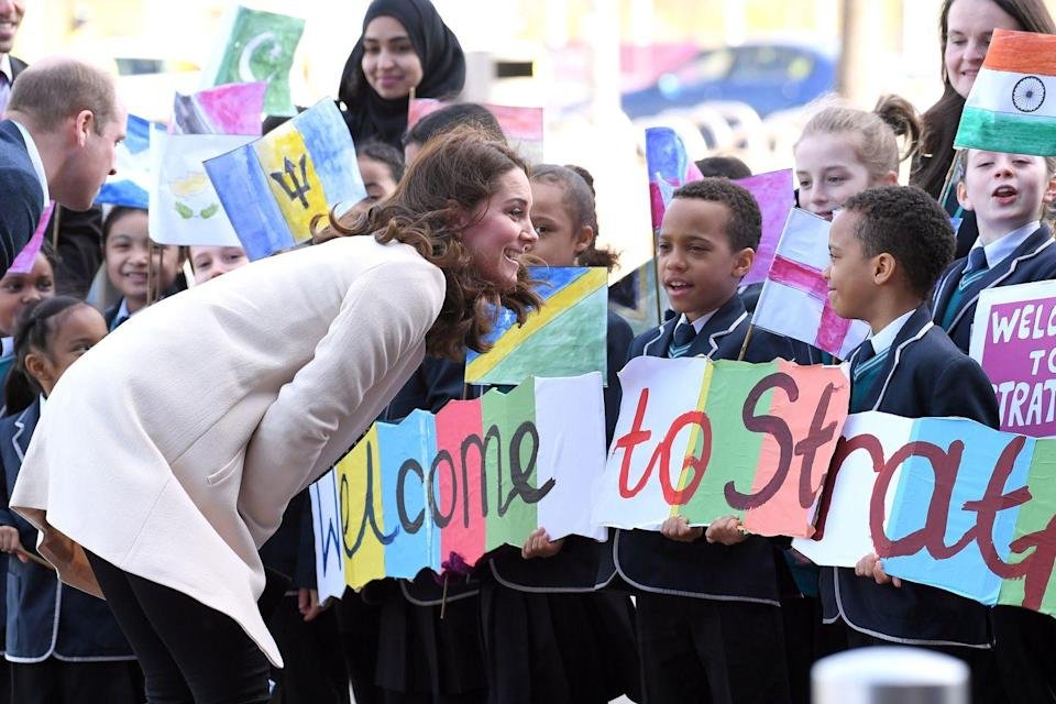 <p>Kate chats with children welcoming her to SportsAid at the Copperbox Arena in London.</p>