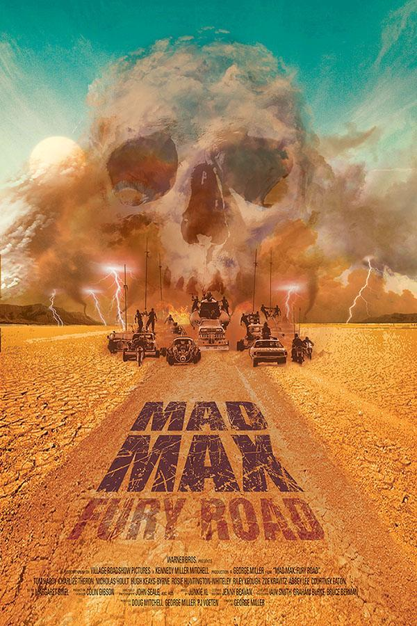 The dust storm that envelopes Max, Furiosa and company takes the shape of a skull in this fan-made poster by Zenithuk.