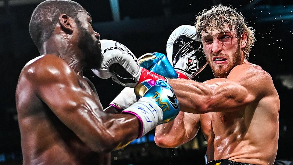 Boxing champion Floyd Mayweather and online celebrity Logan Paul fought the distance over eight rounds. (Photo by CHANDAN KHANNA / AFP) (Photo by CHANDAN KHANNA/AFP via Getty Images)
