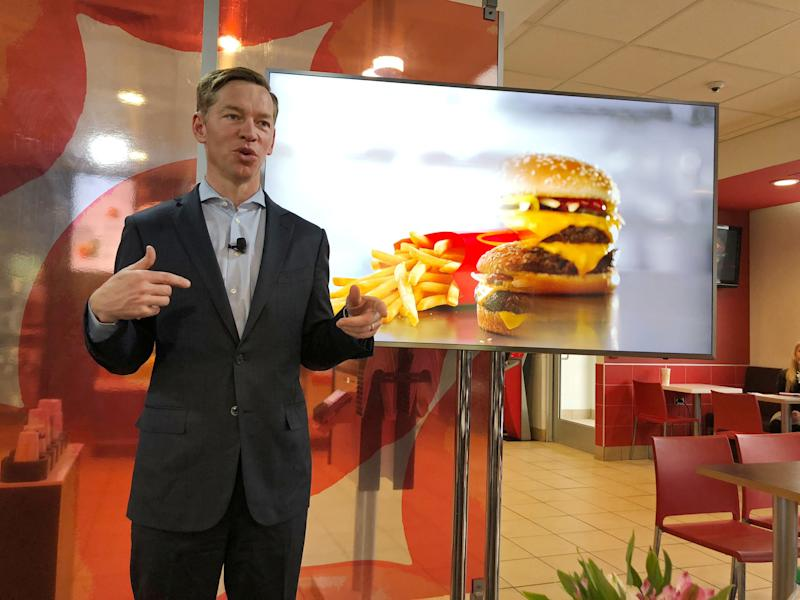 McDonald's U.S President Chris Kempczinski speaks about fresh beef expansion at a McDonald's event in Oak Brook, Illinois, United States March 5, 2018. REUTERS/Richa Naidu