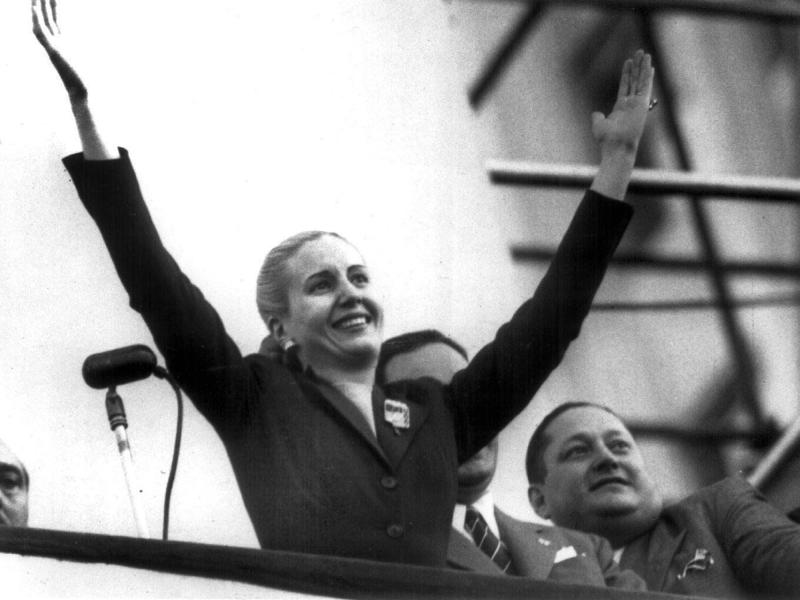 FILE - In this Oct. 17, 1951 file photo, Maria Eva Duarte de Peron waves to supporters in Buenos Aires, Argentina. Argentina commemorates the 60th anniversary of the death of Argentina's most famous first lady on Thursday, July 26, 2012. Evita died of cancer on July 26, 1952 at the age of 33. (AP Photo/Archivo Clarin, File)