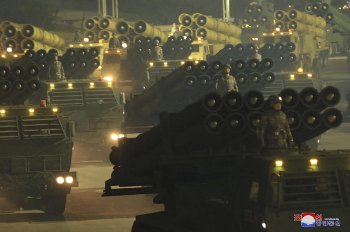 """This photo provided by the North Korean government shows a military parade marking the ruling party congress, at Kim Il Sung Square in Pyongyang, North Korea Thursday, Jan. 14, 2021. Independent journalists were not given access to cover the event depicted in this image distributed by the North Korean government. The content of this image is as provided and cannot be independently verified. Korean language watermark on image as provided by source reads: """"KCNA"""" which is the abbreviation for Korean Central News Agency. (Korean Central News Agency/Korea News Service via AP)"""